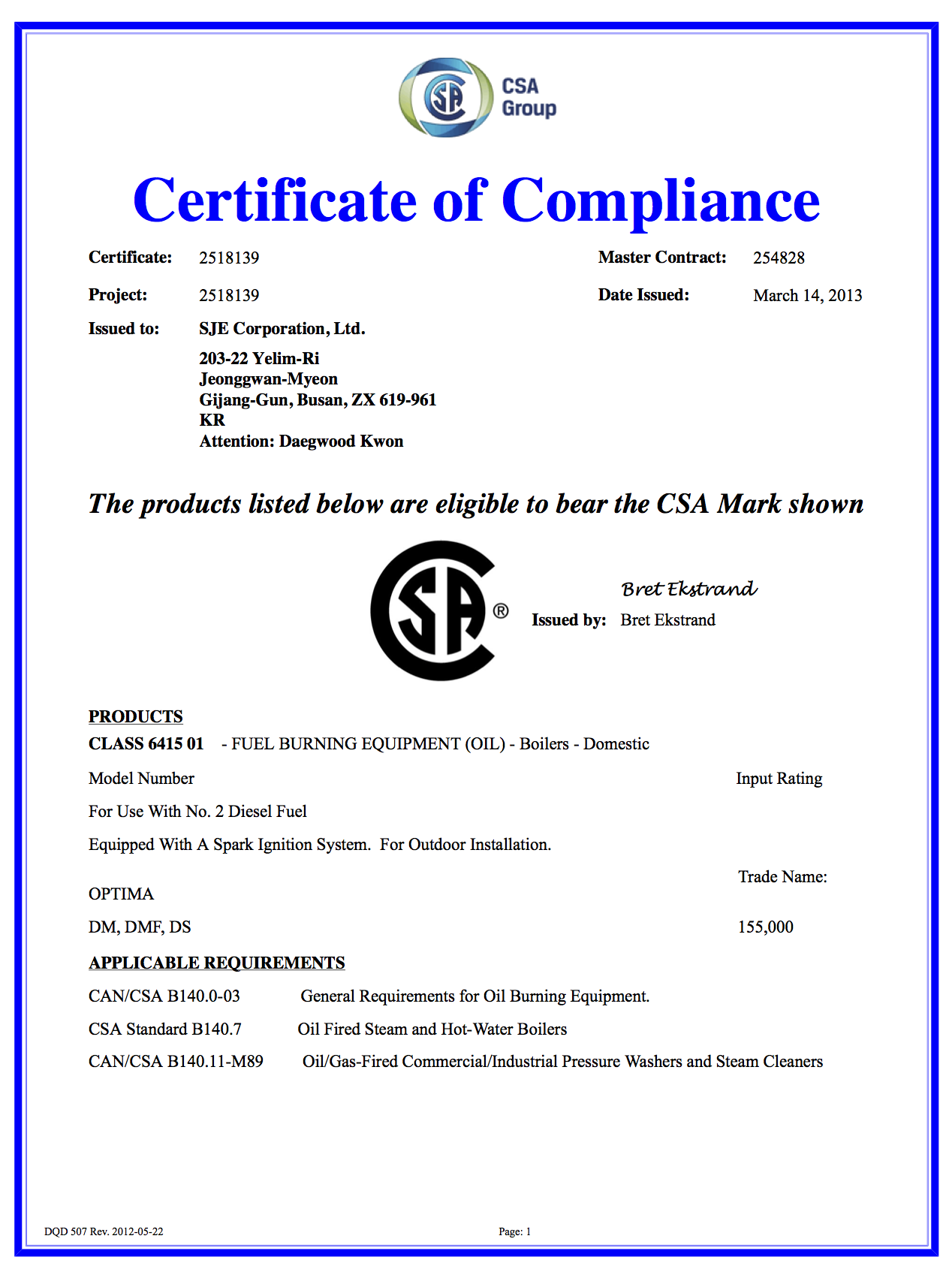 Certification a1 optima steamer csa certificate20130314 1betcityfo Choice Image